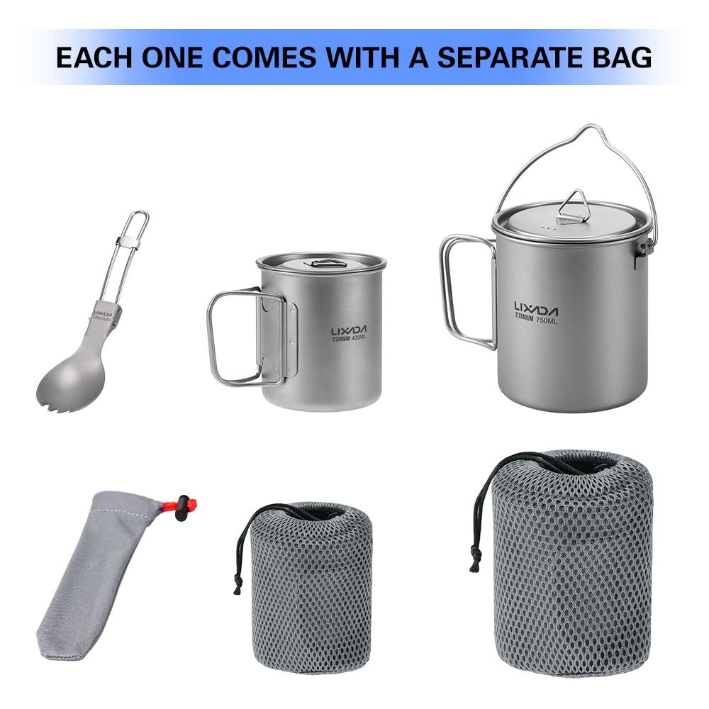 Extérieur titane vaisselle 750ml Pot 420ml tasse à eau tasse avec couvercle poignée pliante Spork pour Camping pique-nique randonnée voyage