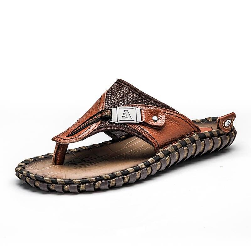 Merk 2018 Nieuwe Mannen Slippers Lederen Slippers Zomer Mode Strand Sandalen Schoenen Voor Mannen Big Size 45 - 2