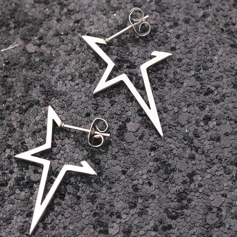 Серьги в стиле панк со звездами, серьги-гвоздики из нержавеющей стали для женщин, повседневные ювелирные изделия для подростков, 2020