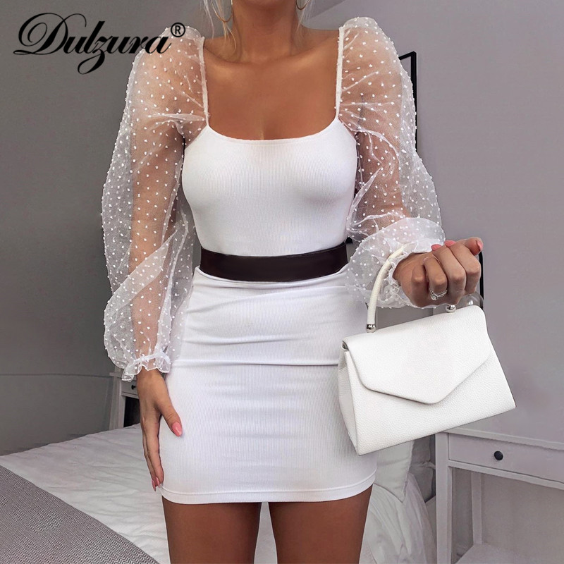 Dulzura Polka Dot Ribbed Mesh Puff Sleeve Mini Dress Elegant Backless Sexy Party Clothes 2019 Autumn Winter Date Evening Fashion