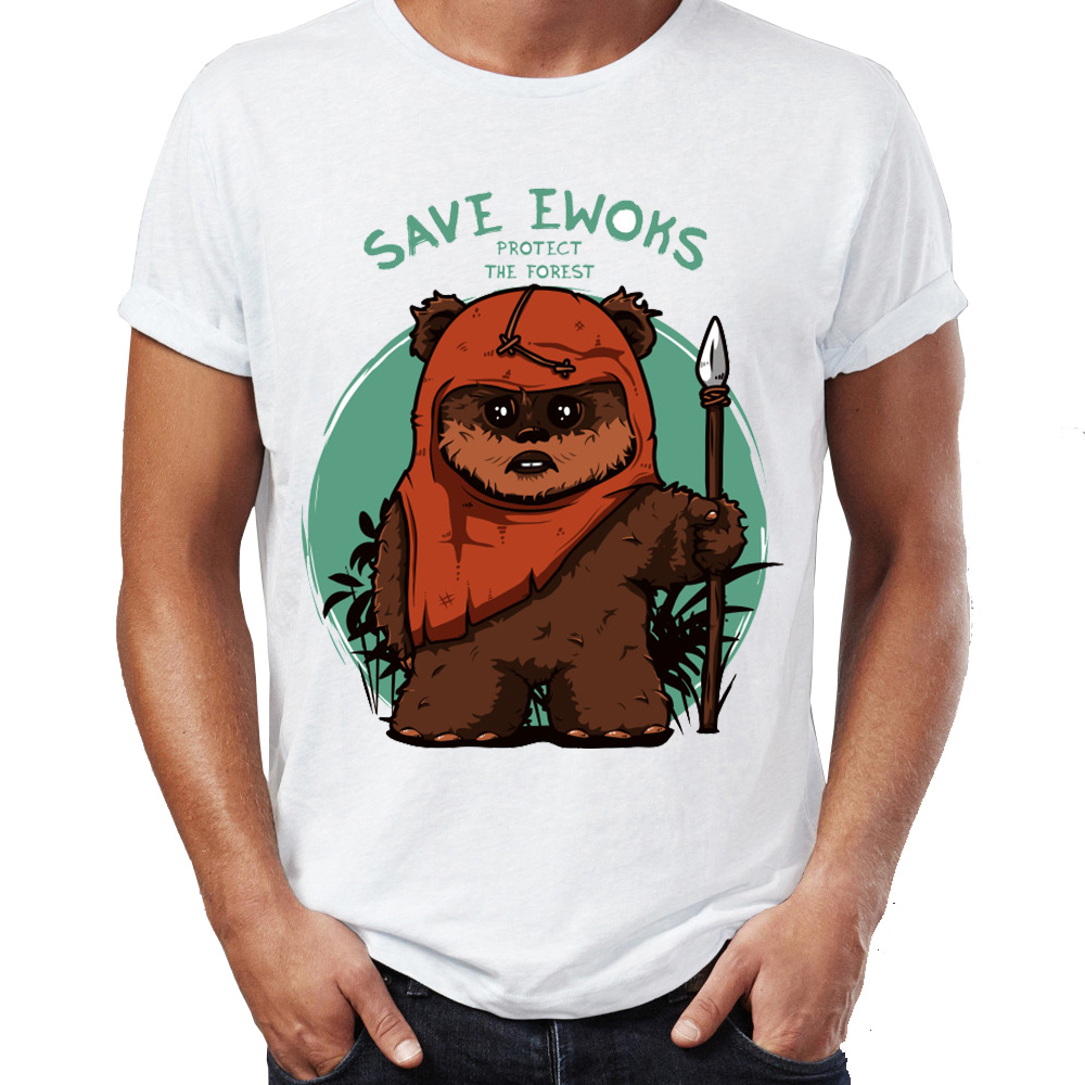 Men's T Shirt Star Wars Eco Warriors Ewoks Save The Forest Artsy Awesome Artwork Printed Tee