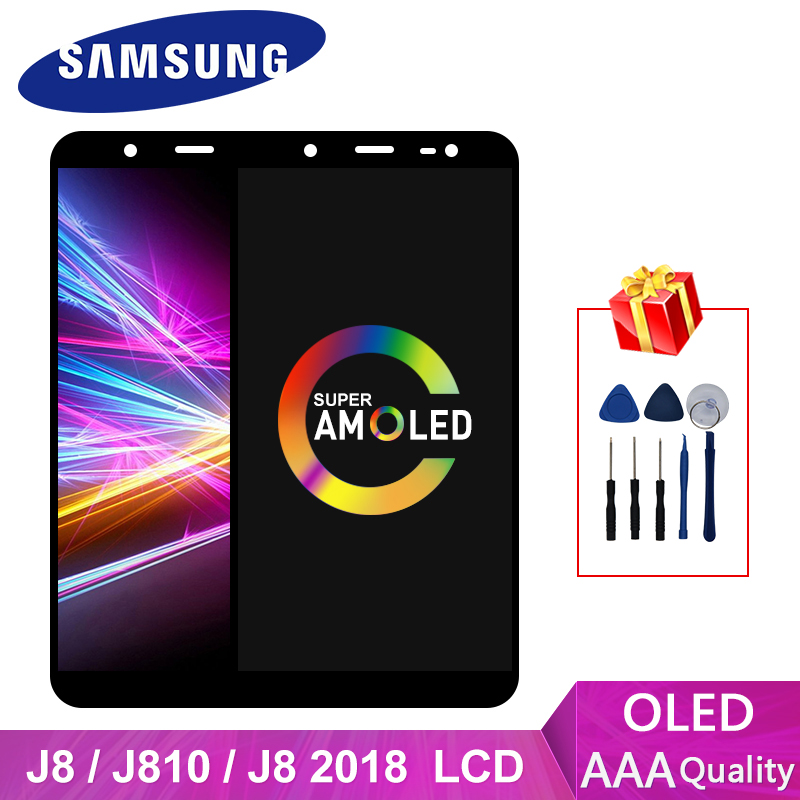 Super AMOLED For <font><b>Samsung</b></font> Galaxy J810 <font><b>J8</b></font> <font><b>2018</b></font> <font><b>LCD</b></font> Touch Screen Digitizer Display Replacement J800FN J800 J810F J810Y Display image