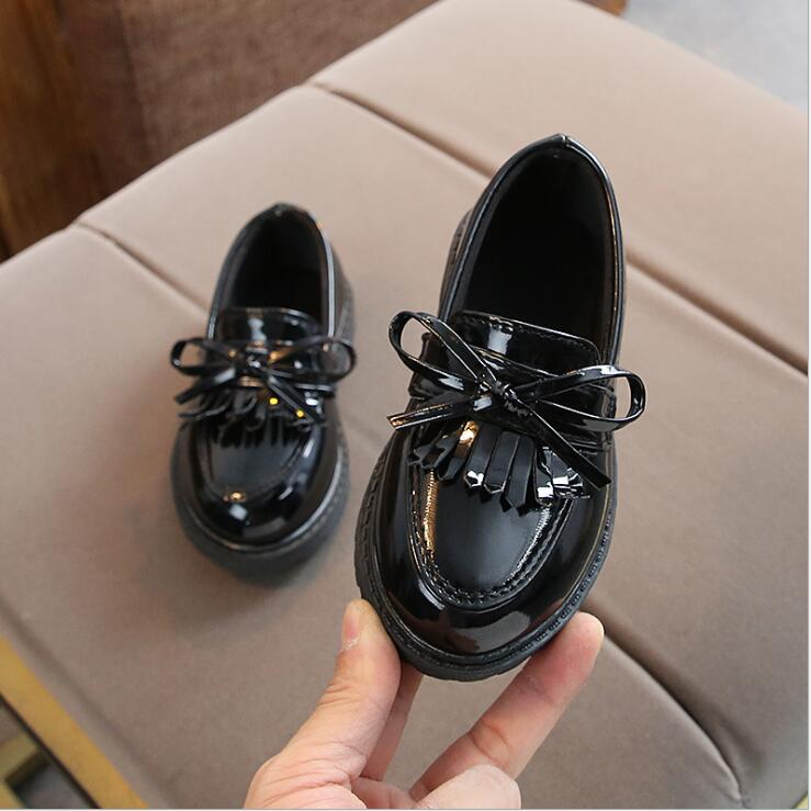 Brand New Spring Autumn Boys Girls Children PU Leather Shoes Fringe Kid Oxford Brand Tassel Bow Flats Shoes Size 21-36