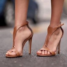 Hasp Ankle Strap Stiletto Sandals T- Strap Cut Out Solid Leather Women Summer Shoes Open Toe High Heel Buckle Shoes Gladiator цена 2017