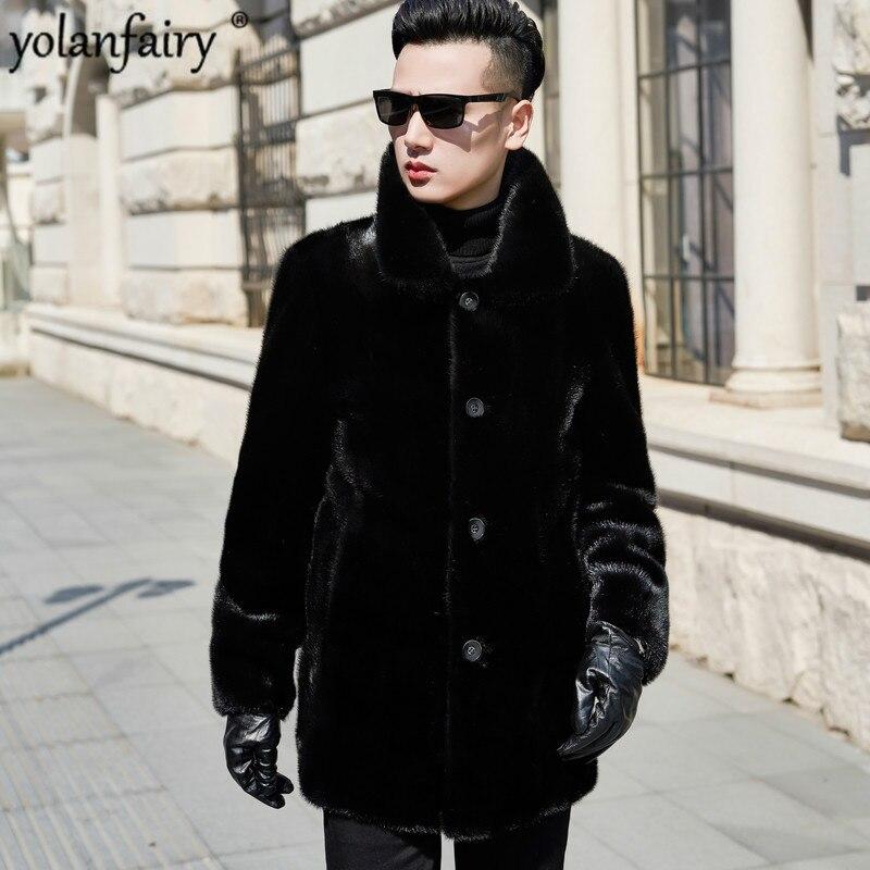 2020 Real Fur Coat Natural Mink Fur Coat Winter Jacket Men Clothes Mens Real Shearling Warm Outwear Veste Homme n-2 YY706