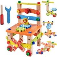 DIY деревянный стул для разборки инструмент для сборки орехового стула детские игрушки-головоломки деревянные блоки игрушки подарок для дет...