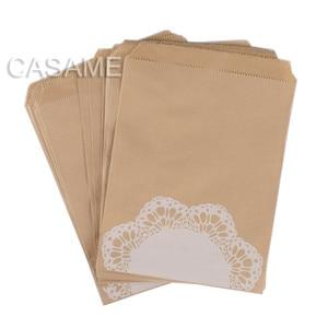 Image 5 - 50 개/몫 취급 캔디 가방 고품질 파티 호의 종이 가방 셰브론 폴카 도트 스트라이프 인쇄 된 종이 공예 가방 베이커리 가방
