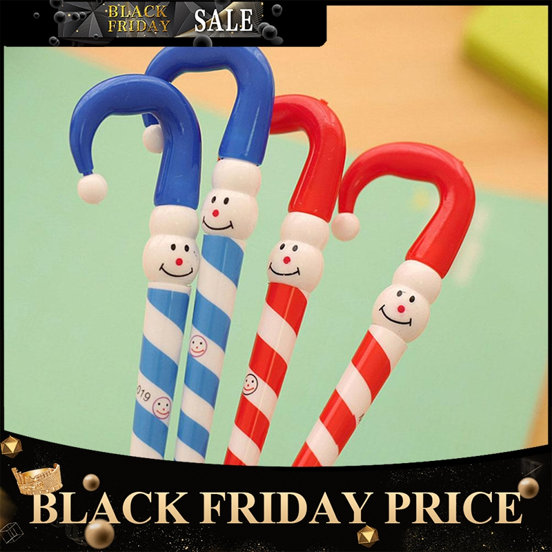 Random)0.5mm Christmas Blue Gel Pen Cute Cartoon Snowman Hat Stripe Stick Neutral Pen  Plastic Gel Pen