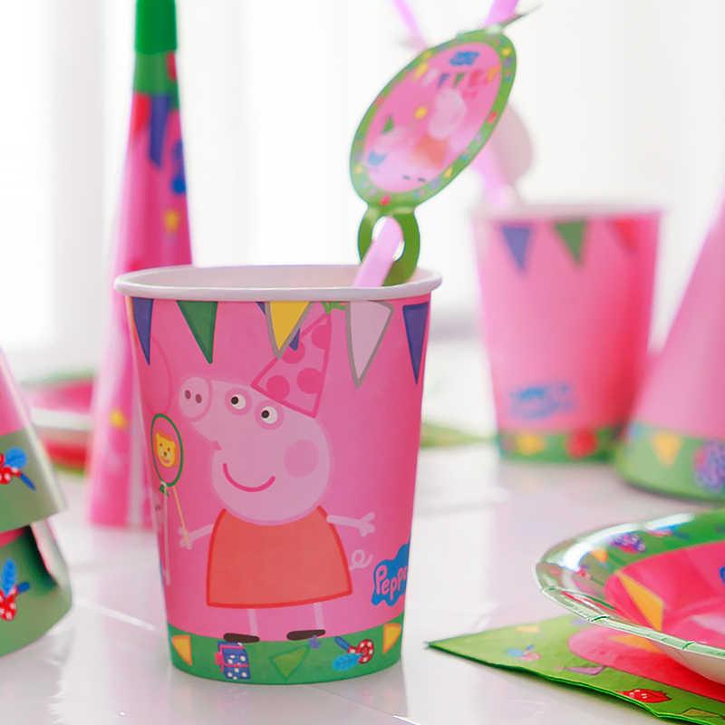Peppa pig conjuntos de festa aniversário anime figura festa decoração suprimentos garfo copo chapéu colher atividade evento crianças presentes de aniversário 2p03