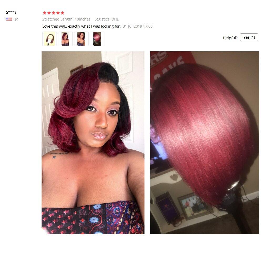 Парики из натуральных волос на кружеве бордового цвета с эффектом омбре, прямые волосы красного цвета 1B/99J для женщин, перуанские волосы Remy ... - 4