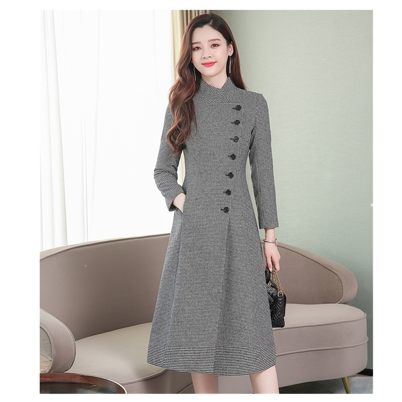 Winter Fashion Houndstooth Coat Women 2019 New Winter Casual Long Paragraph Over The Knee Lattice Office Lady Coat Female B697