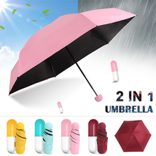 Capsule Umbrella Mini Light Small Pockets Umbrellas Anti-UV Folding Compact DAG-ship