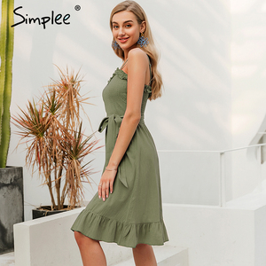 Image 3 - Simplee שרוולים נשים כותנה שמלה אלגנטי Ruched sashes bow midi קיץ שמלות סקסי מוצק נקבה המפלגה vestidos 2019