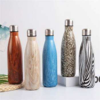 Leopard Wood Water Bottle Stainless Steel Thermos Vacuum Flask Insulated Heat Cold Coffee Cup Travel Mug Kids Gym Drink Bottle 1