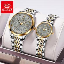 OLEVS – montre mécanique automatique en acier inoxydable pour Couple, étanche, marque de luxe, pour amoureux de la mode