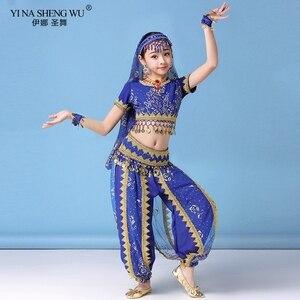 Image 1 - Ensemble Costumes de danse du ventre pour enfants, ensemble de Costumes de danse du ventre Oriental, vêtements indiens, 4 couleurs