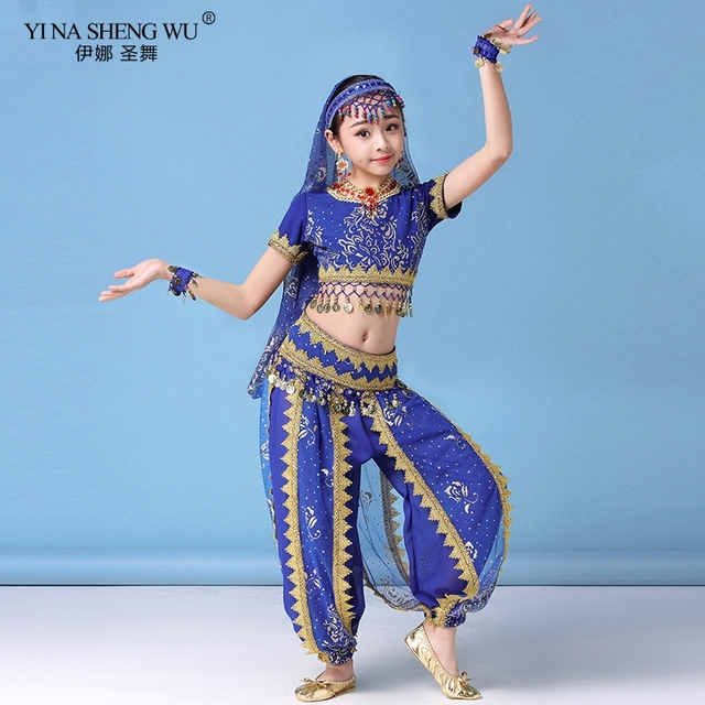 Ensemble Costumes de danse du ventre pour enfants, ensemble de Costumes de danse du ventre Oriental, vêtements indiens, 4 couleurs