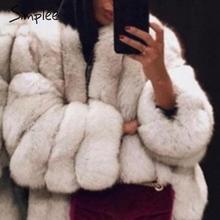 Simplee 厚いストリート女性フェイクファーコート高級秋冬女性暖かいオーバーコートプラスサイズ 5XL 毛皮のようなジャケット 2019