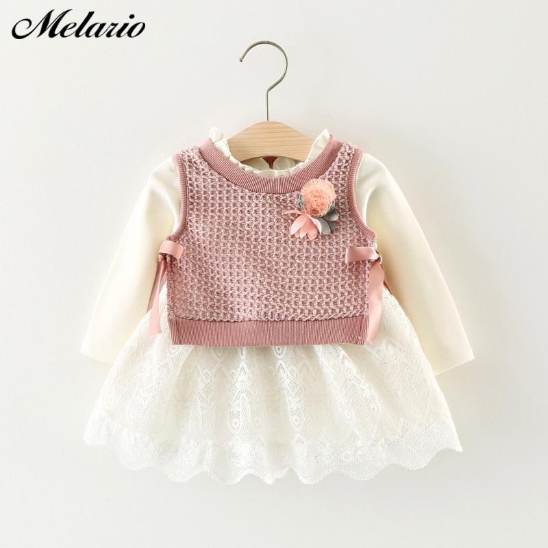 Melario Flower Baby Girls Dresses Autumn Baby Girls Clothes Casual Cartoon Knit Kids Princess Dress Cotton Newborn Kids Clothing
