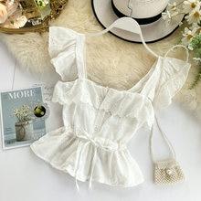 Mori girl Женская блузка v образный вырез шнурок винтажная лето