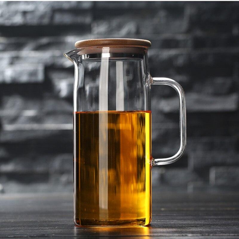 1L/1.2L/1.5L Transparent Glass Water Jug Pot Cha Tea Kettle Lemonade Pitcher Heat-resistant Explosion-proof Heatable Carafe