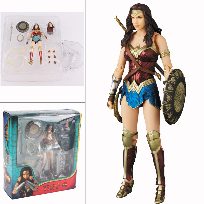 6inch DC Justice League Wonder Woman Mafex 048 Action Figure Collection Toy Doll Gift For Kids