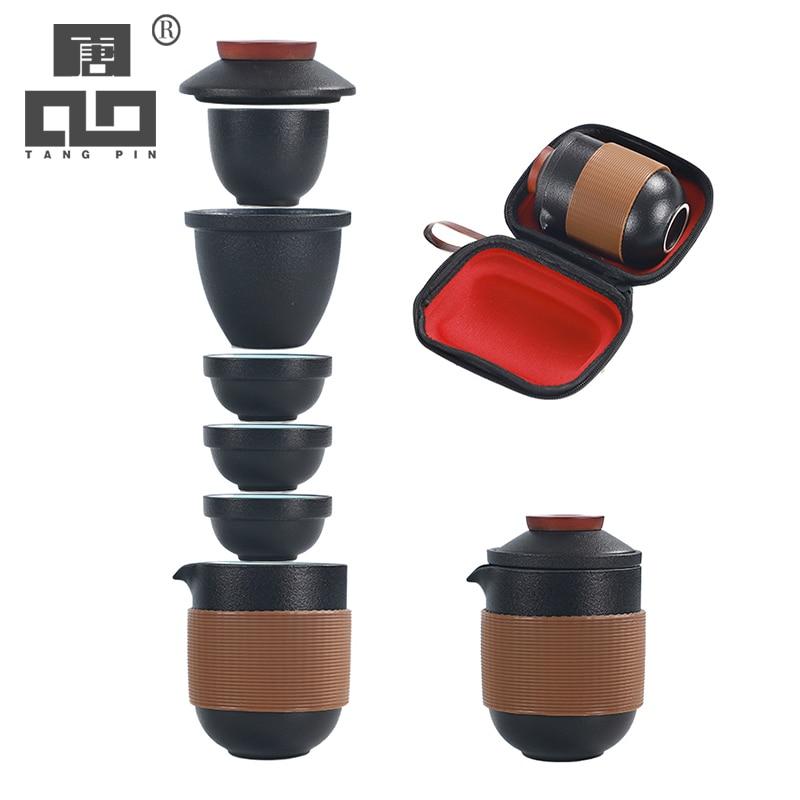 TANGPIN Black Crockery Ceramic Teapot Gaiwan Tea Cups A Tea Set Portable Travel Tea Set Drinkware