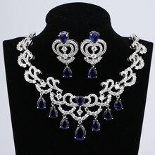 Collier pendentif en zircone cubique bleue, couleur argent pour femmes, bijoux, boucles doreilles de mariage, ensembles CZ