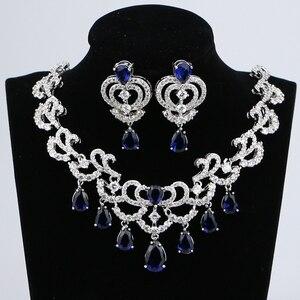 Image 1 - Su damlası mavi kübik zirkonya beyaz CZ kadınlar gümüş renk takı düğün küpe kolye kolye setleri