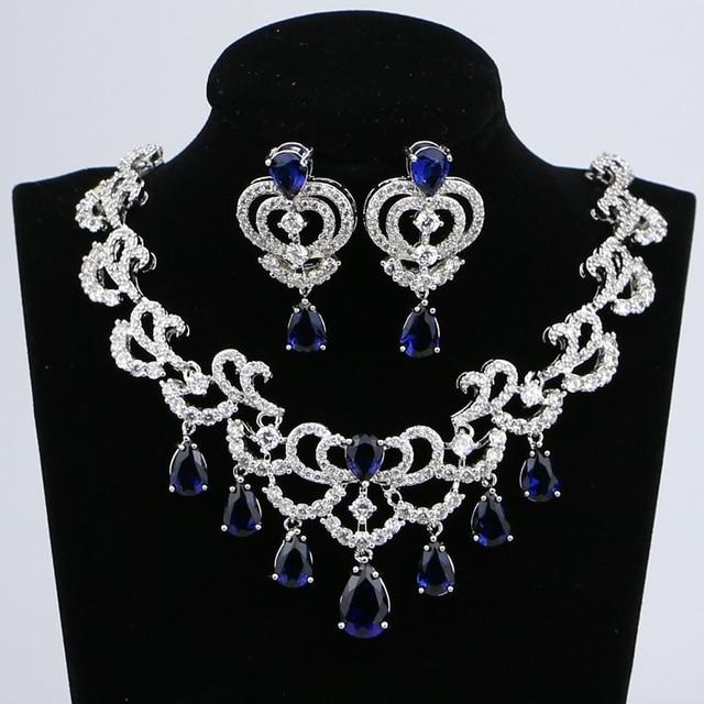 Su damlası mavi kübik zirkonya beyaz CZ kadınlar gümüş renk takı düğün küpe kolye kolye setleri