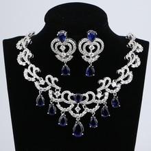 Water Drop Blue Cubic ZirconiaสีขาวCZเงินผู้หญิงเครื่องประดับงานแต่งงานต่างหูจี้ชุดสร้อยคอ