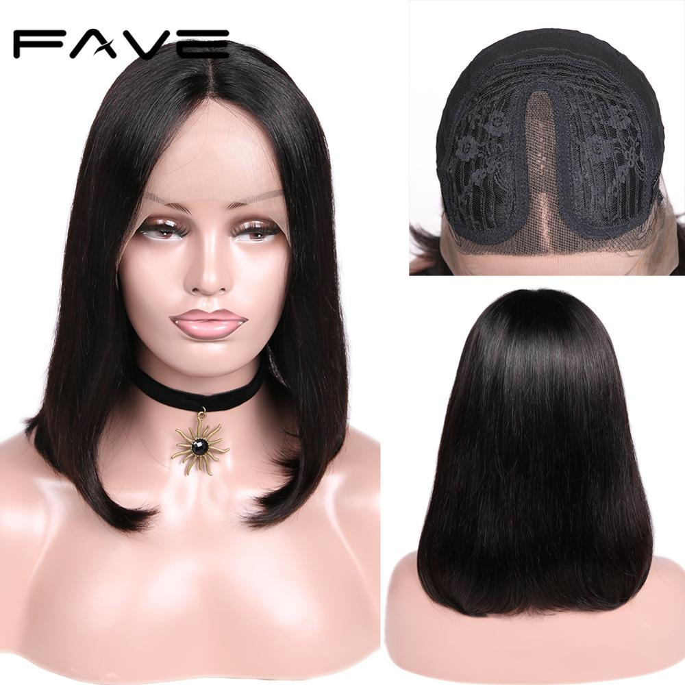 Lace Wig Short Bob Straight Remy Human Hair Wig Shoulder Wig 150% Density For Black Women Lace Part Bob Wigs FAVE Hair