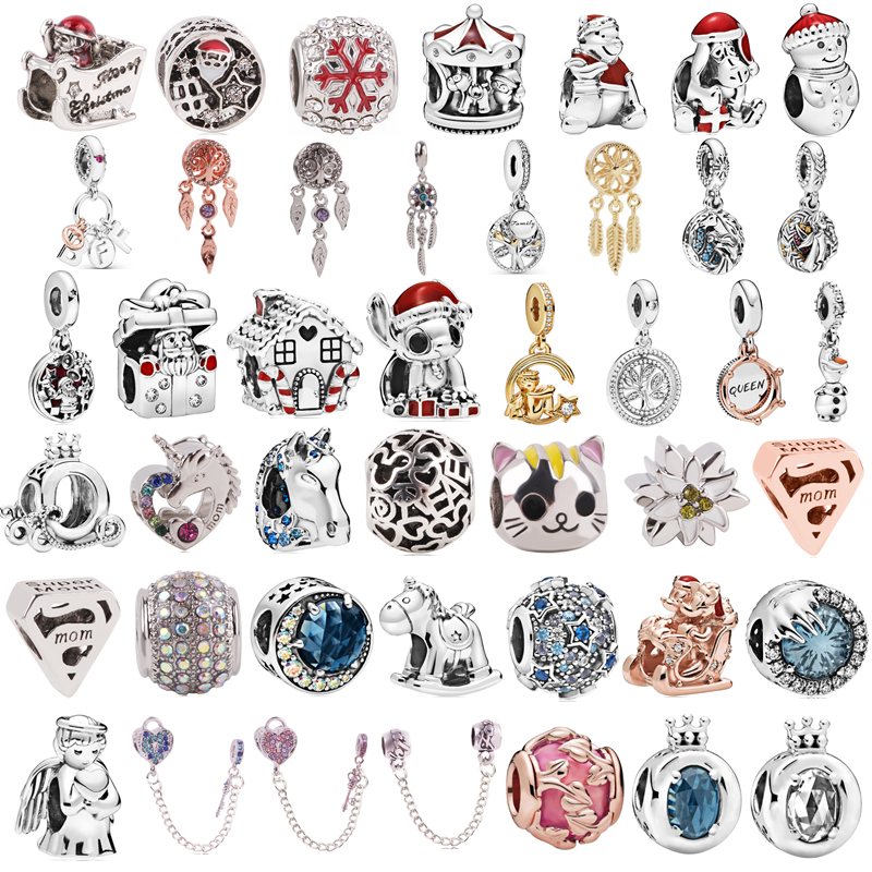 Silver 925 Christmas Star Mickey Angel Horse Charms Beads Pendant Fit Pandora Bracelets & Necklace Women DIY Lovers Jeweley(China)