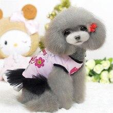 Dog-Dresses Bow-Flower Dress Summer Breathable Pet Suit Teddy-Dog