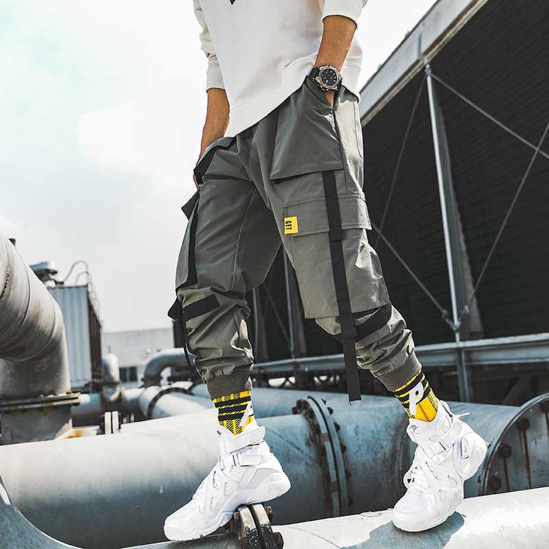 Streetwear Pria Multi Saku Kargo Harem Celana Hip Hop Kasual Pria Celana Pendek Celana Panjang Jogger Fashion Harajuku Pria Celana Celana