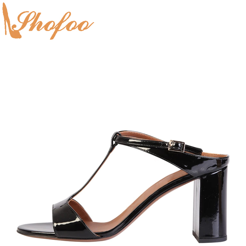 Black Patent Women Sandals High Chunky Heels Open Toe Large Size 14 16 Ladies Summer Fashion Ankle T-Strap Mature Shoes Shofoo