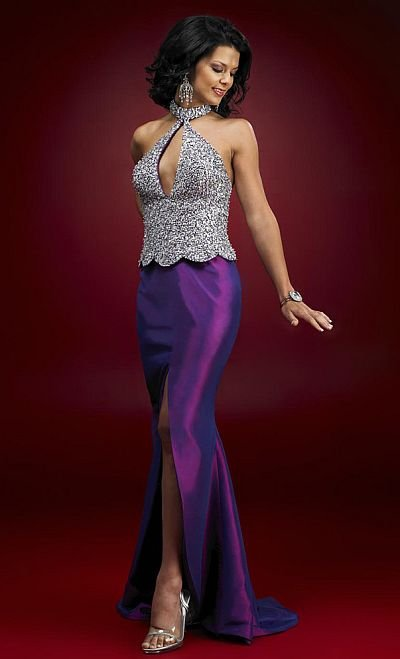 Elegant Purple Halter Neckline Long Beadeds Formal Evening Gown 2018 Sexy Backless Mermaid Mother Of The Bride Dresses