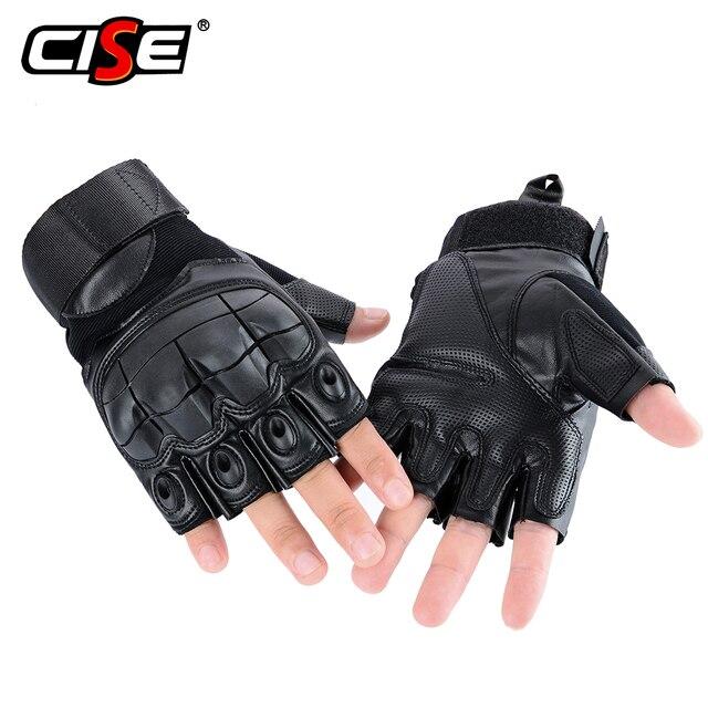 PU Leather Motorcycle Half Finger Glove Motorbike Motocross Moto Hard Knuckle Fingerless Riding Biker Protective Gear 2