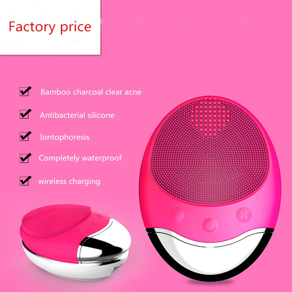NEW wireless charge Electric Face washing Cleaning Massage Brush Waterproof bamboo charcoal Silicone Facial Cleansing Devices
