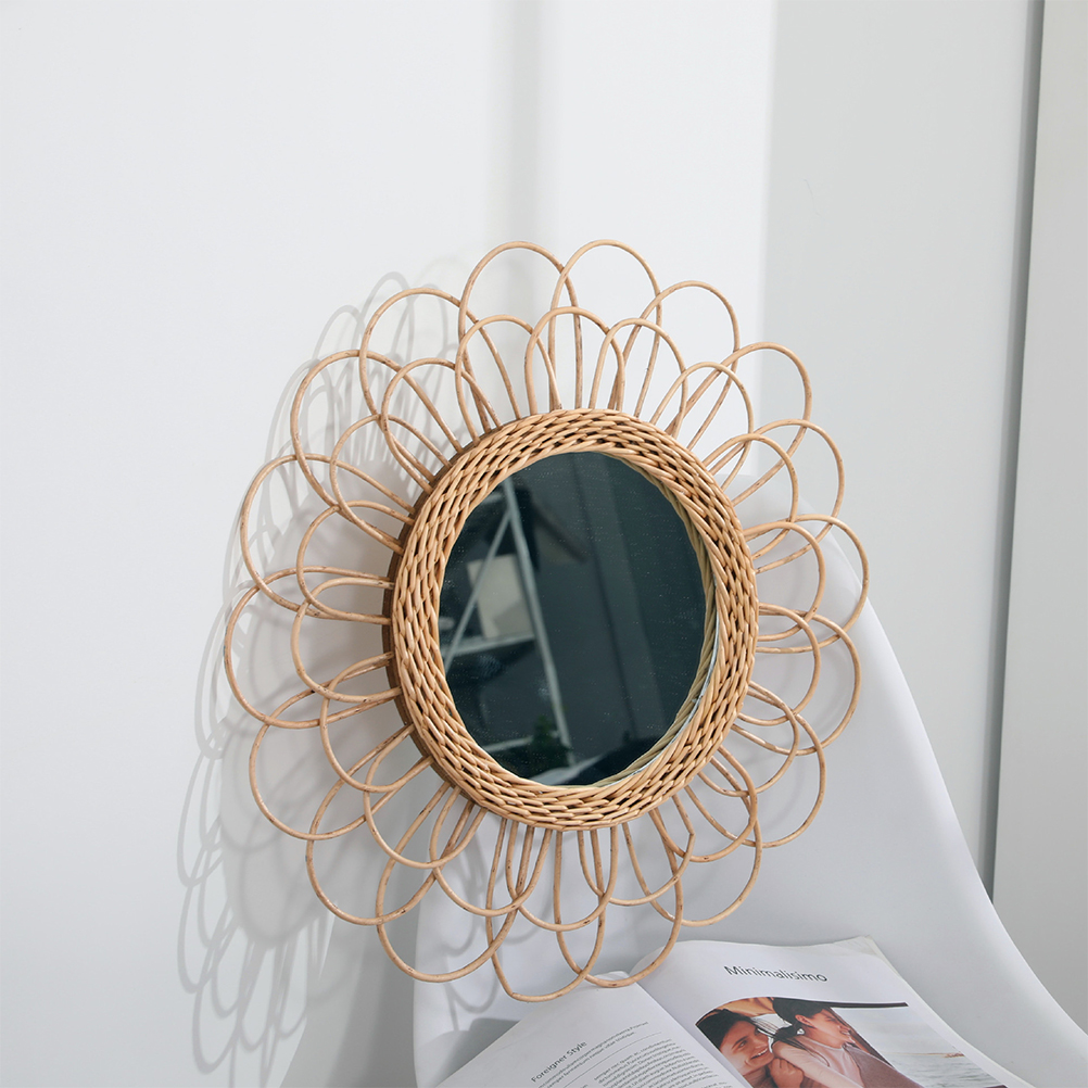 40cm Hanging Mirror Rattan Sunflower Circular Wall Mirror Decor Boho Wicker Dressing Makeup Mirrors