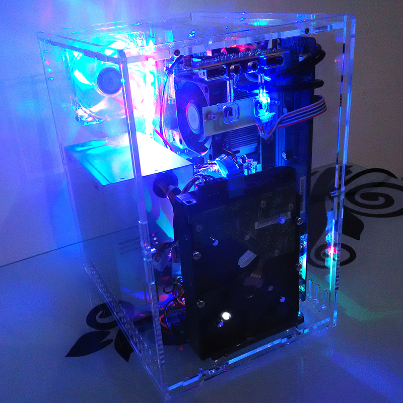 DIY Acrylic Organic glass computer full transparent Personality Vertical MATX gaming PC chassis case with Color lamp fan 1