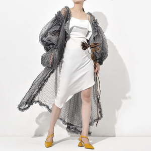 [EAM] Women Black Dot Mesh Split Big Size Long Blouse New V-collar Long Sleeve Loose Fit Shirt Fashion Spring Summer 2020 WE923