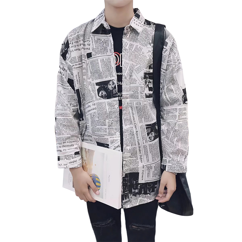 Spring Tops Boy Newspaper Printing Casual Daily Splicing Men Shirts Cotton Blend Long Sleeve Slim Fit Fashion Square Neck