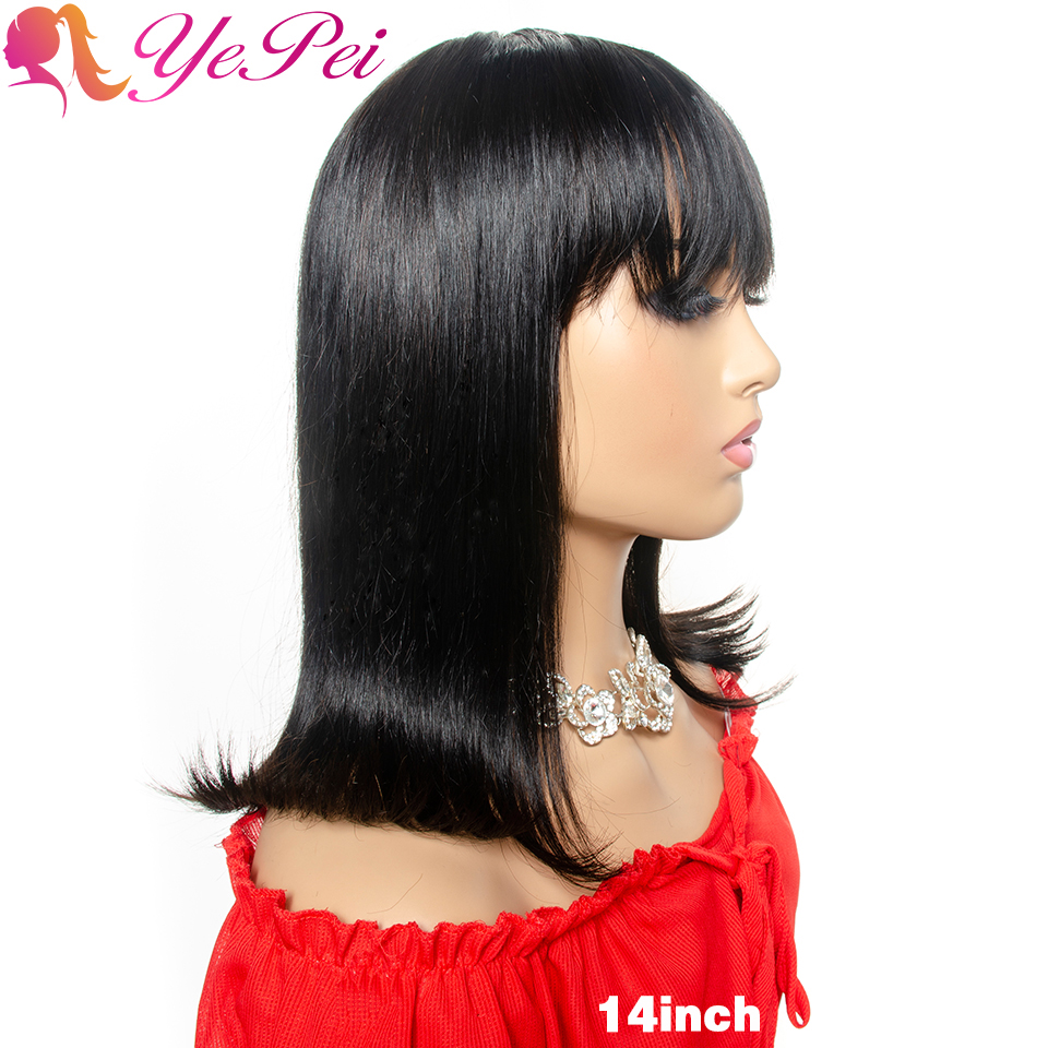 Short Bob Wig With Bangs Brazilian Straight Human Hair Wigs Full Machine Made Wigs With Front Bang Yepei Remy Hair