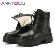 Женские ботильоны на платформе annymoli черные ботинки из натуральной