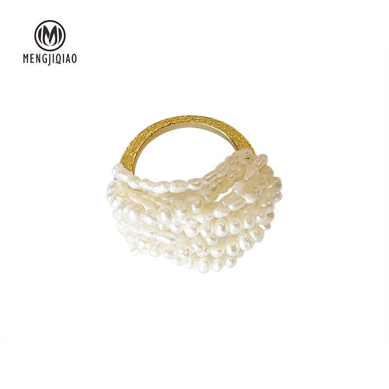 MENGJIQIAO ใหม่เกาหลี Elegant Handmade Multilayer จำลองไข่มุกแหวนนักเรียนมือเครื่องประดับแหวนของขวัญ