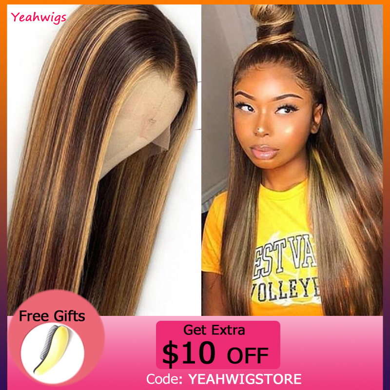 13x4 Straight Lace Front Human Hair Wigs Highlight Color #4/27 Deep Part Ombre Human Hair Lace Wigs Pre-Plucked For Women