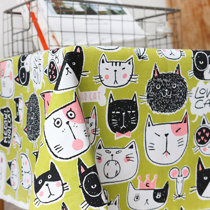 Cat Printed Full Cotton And Thick Active Canvas Fabric