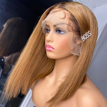 13x4 Bob Wig Honey Brown Straight Lace Front Human Hair Wigs 1b/27 Ombre Human Hair Wig