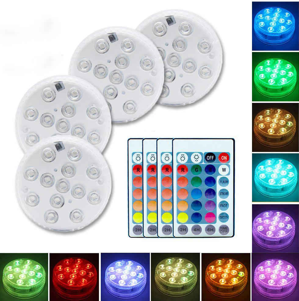 13 LED Remote Controlled Underwater Light IP68 Waterproof RGB Multicolor Submersible Vase Decoration Light Swimming Pool Lamp